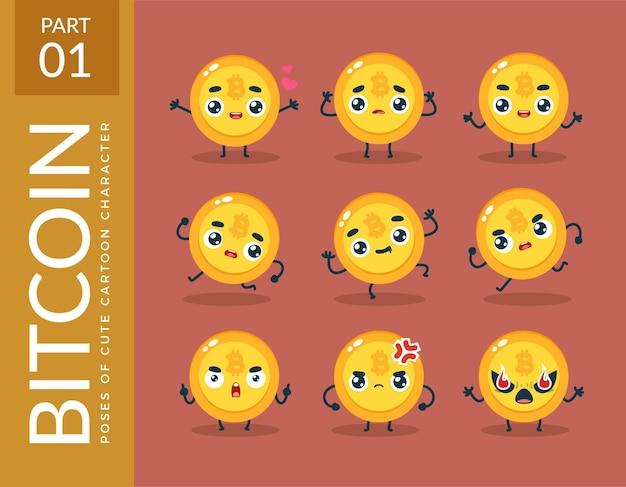 Images de mascotte du bitcoin. ensemble.