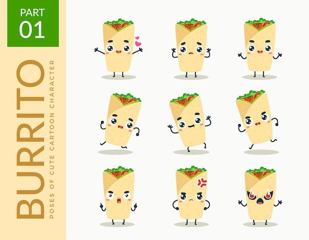 Images de mascotte du burrito. ensemble.