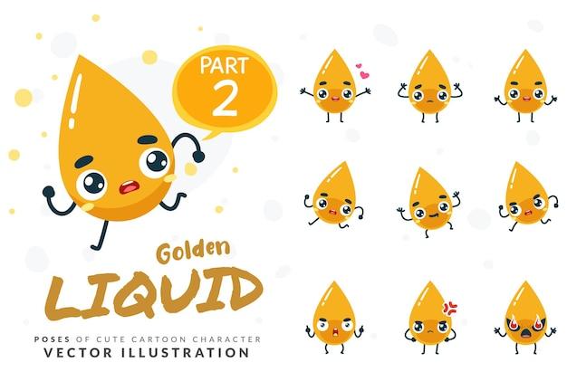 Images de mascotte du liquide jaune. ensemble.