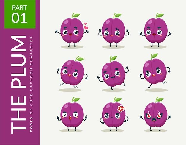 Images de mascotte de la jolie prune. ensemble.