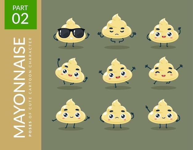 Images de mascotte de la mayonnaise. ensemble.