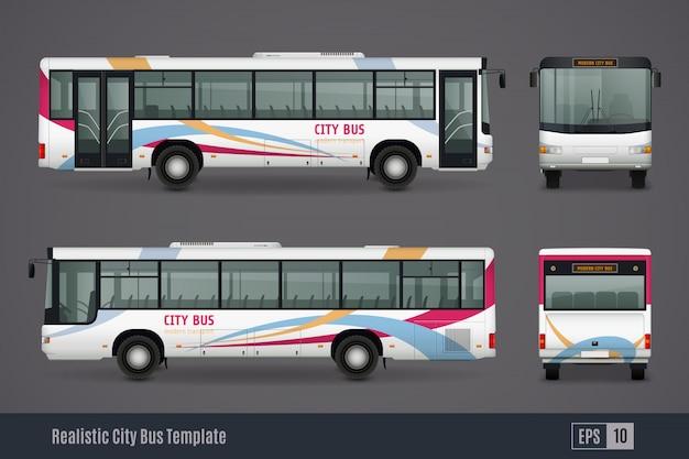 Images réalistes colorées de bus de ville