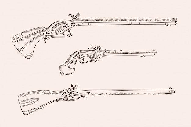 Images vectorielles de vieilles armes à feu européennes. dessin à la main simple.