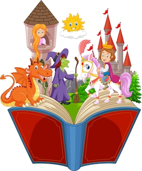 Imagination dans un livre de fantaisie de queue de fée des enfants