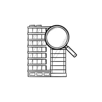 Immeuble de bureaux avec loupe icône de doodle contour dessiné à la main. concept de recherche et de location de biens immobiliers commerciaux