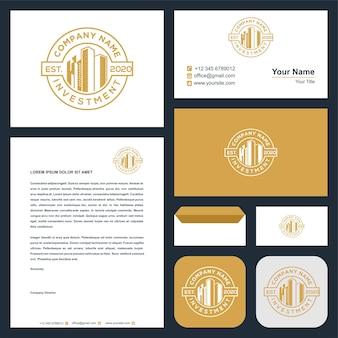 Immeuble de construction couleur or et inspiration de conception de logo de carte de visite premiu