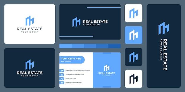 Immeuble immobilier avec logo de la lettre m et conception de carte de visite.