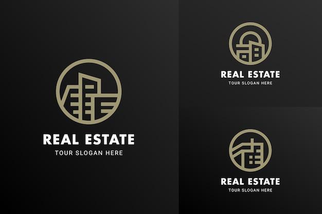 Immeuble de luxe moderne propriété immobilière société icône logo emblème vecteur ensemble de modèles de conception