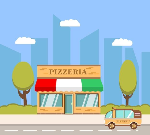 Immeuble de pizzeria camionnette de livraison