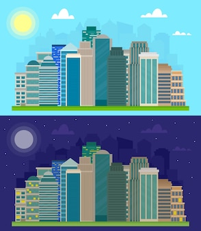 Immeubles de bureaux d'horizon de ville de jour et de nuit paysage urbain plat.