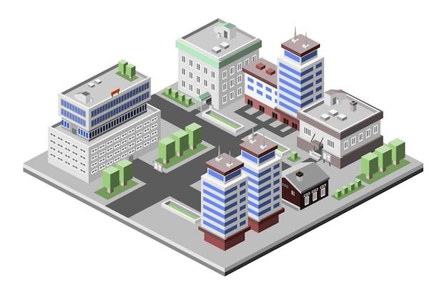 Immeubles de bureaux isométriques