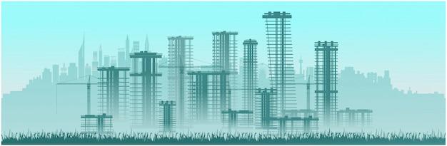 Immeubles de grande hauteur de construction de la ville.