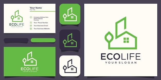 L'immobilier abstrait combine un logo naturel et un vecteur de conception de carte de visite.