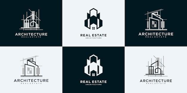Immobilier, architecture, bâtiment, collection de conception de logo de construction.