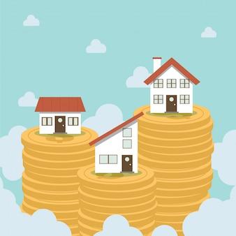 Immobilier au sommet d'une pile de pièces