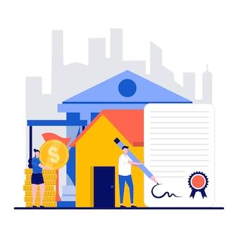 L'immobilier sur le concept de crédit avec le caractère de personnes minuscules signe un accord et paie des intérêts