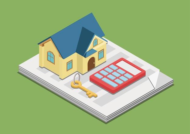 Immobilier coûts dépenses valeur loyer prix concept plat 3d web