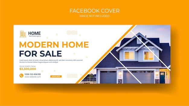 Immobilier couverture facebook modèle de bannière web maison à louer conception de bannière web