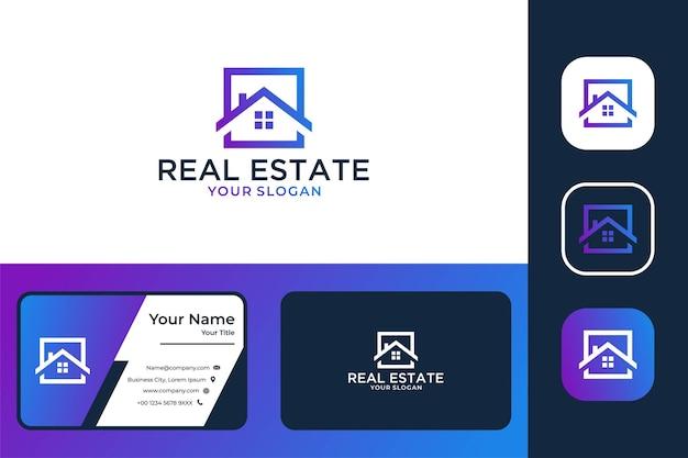 Immobilier avec création de logo carré de maison et carte de visite