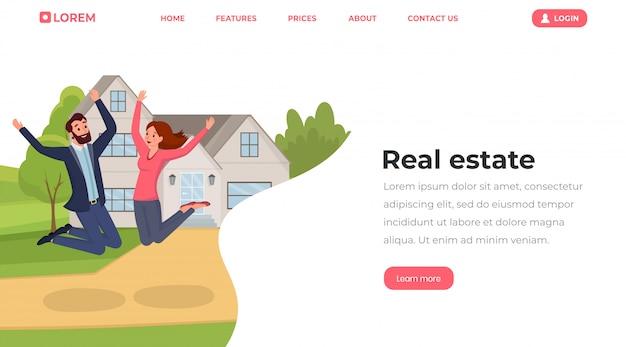 Immobilier dans le modèle de page de destination de style style plat.