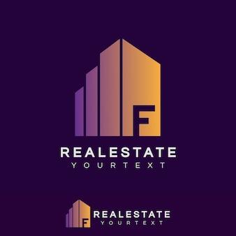 Immobilier initial lettre f logo design