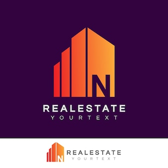Immobilier initial lettre n logo design
