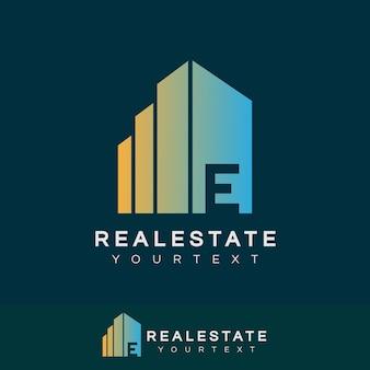 Immobilier initiale lettre e logo design