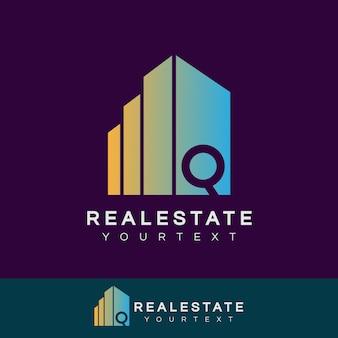 Immobilier initiale lettre q logo design