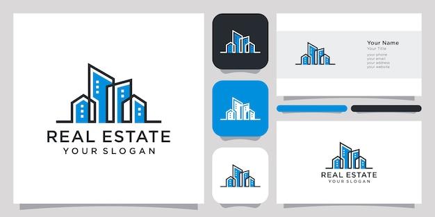Immobilier logo design icône symbole vecteur modèle et conception de carte de visite.