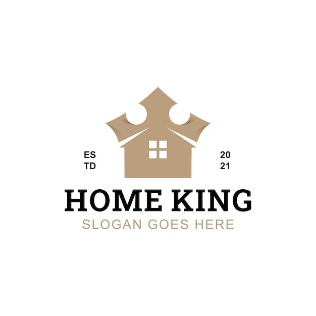 Immobilier de luxe ou logo de propriété du symbole doré du roi de la maison pour le professionnel de la maison de l'homme riche