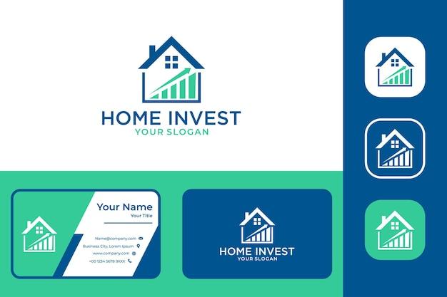 Immobilier à la maison avec la conception de logo d'investissement et la carte de visite