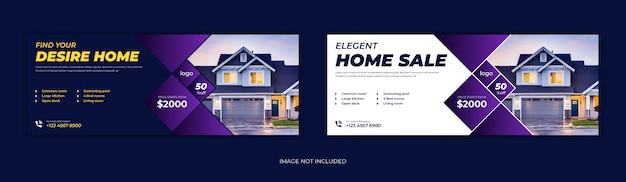 Immobilier maison location vente médias sociaux publication page de couverture facebook chronologie en ligne web