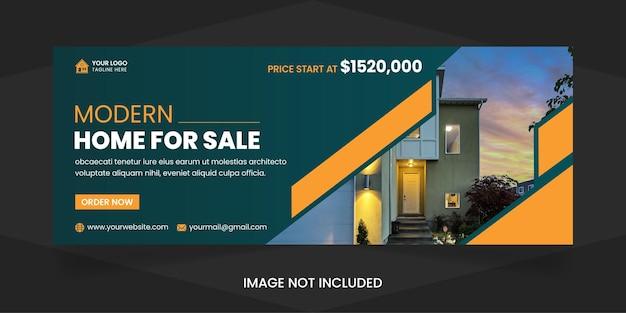 Immobilier maison moderne à vendre médias sociaux couverture facebook modèle de conception premium vactor