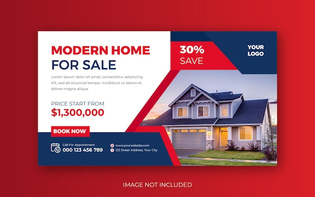 Immobilier moderne maison vente you tube thumbnail ou web banner template design