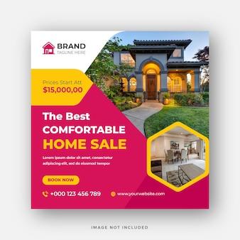Immobilier moderne vente maison médias sociaux post modèle conception de bannière web