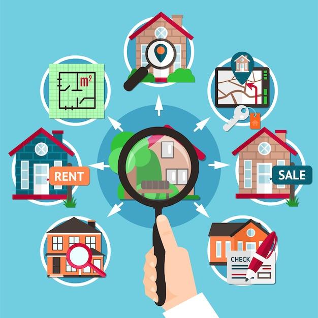 Immobilier plat composition avec loupe dans les mains d'une illustration de l'homme