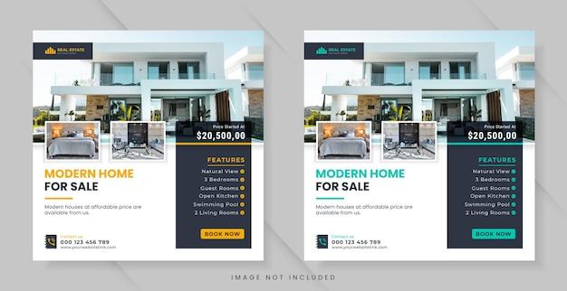 Immobilier pour publication sur les réseaux sociaux ou modèle de bannière carrée