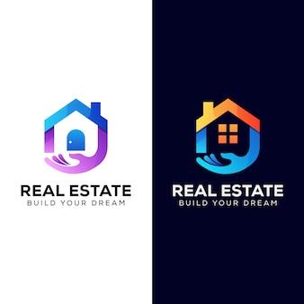 Immobilier pour votre logo d'entreprise de construction. modèle de conception de logo de propriété de vente