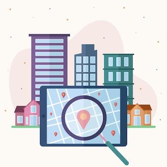 Immobilier recherche design illustré