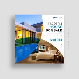 Immobilier social media post banner design et maison à vendre instagram post design template