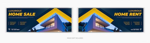 Immobilier vente maison médias sociaux post facebook page de couverture chronologie conception de bannière publicitaire web