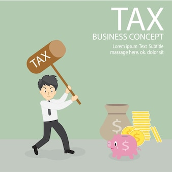 Impôt. homme d'affaires tenir le marteau sur le point de casser la tirelire