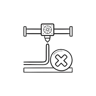 L'impression 3d annule l'icône de doodle contour dessiné à la main. processus d'impression 3d annulé, arrêtez le concept d'extrudeuse d'imprimante. illustration de croquis de vecteur pour l'impression, le web, le mobile et l'infographie sur fond blanc.