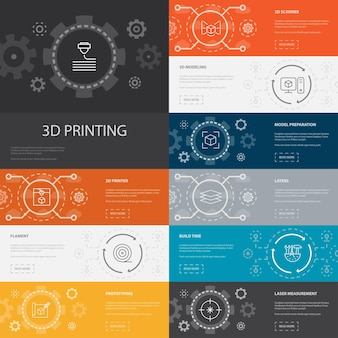 Impression 3d infographie 10 icônes de ligne banners.3d imprimante, filament, prototypage, préparation de modèle icônes simples