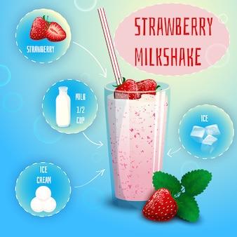 Impression d'affiche recette de milkshake à la fraise et aux fraises