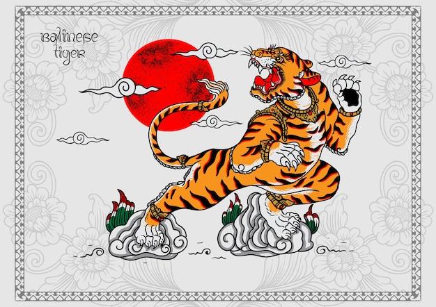 Impression d'affiche de tatouage de tigre balinais