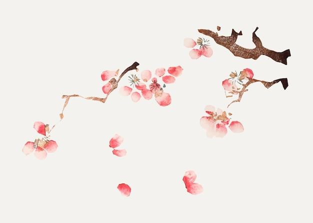 Impression d'art botanique de vecteur de fleur de cerisier rose, remixée à partir d'œuvres d'art de hu zhengyan