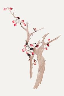 Impression d'art botanique de vecteur de fleur, remixée d'œuvres d'art de hu zhengyan