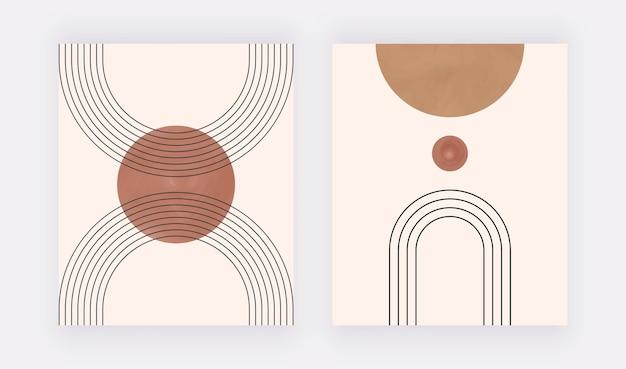 Impression d'art mural géométrique boho avec des formes et des lignes rondes