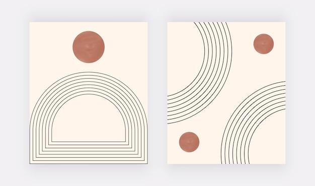 Impression d'art mural géométrique boho avec soleil et lignes noires